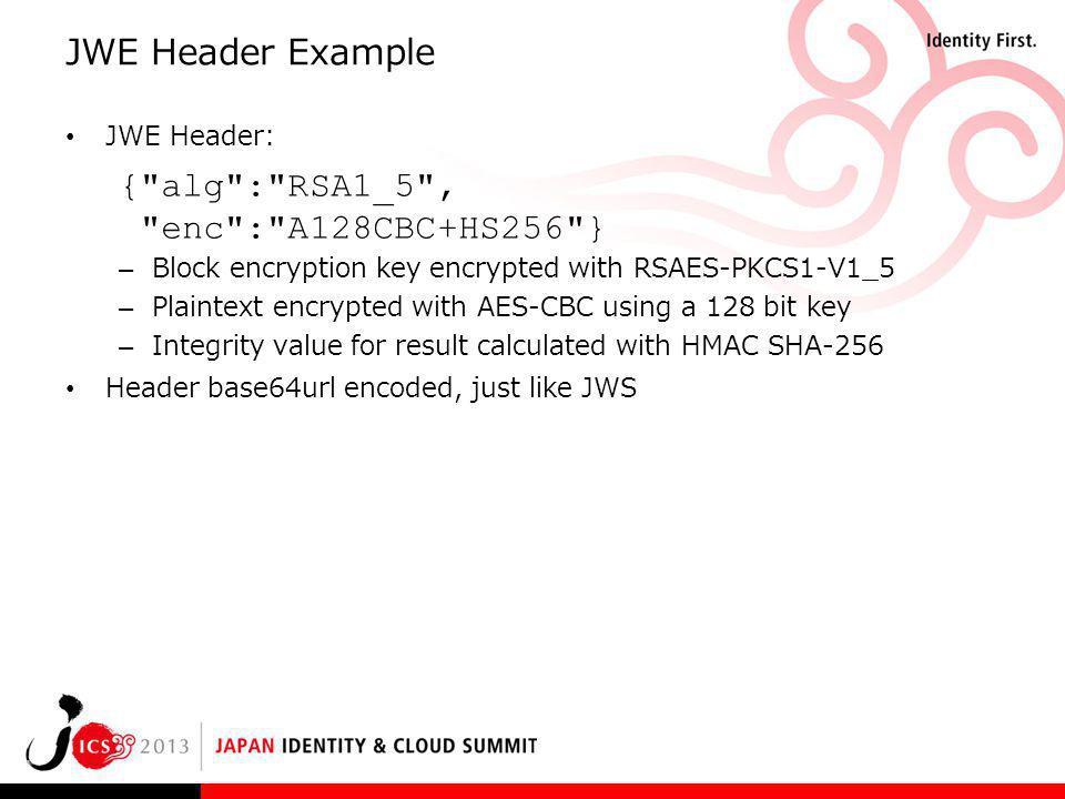 { alg : RSA1_5 , enc : A128CBC+HS256 }