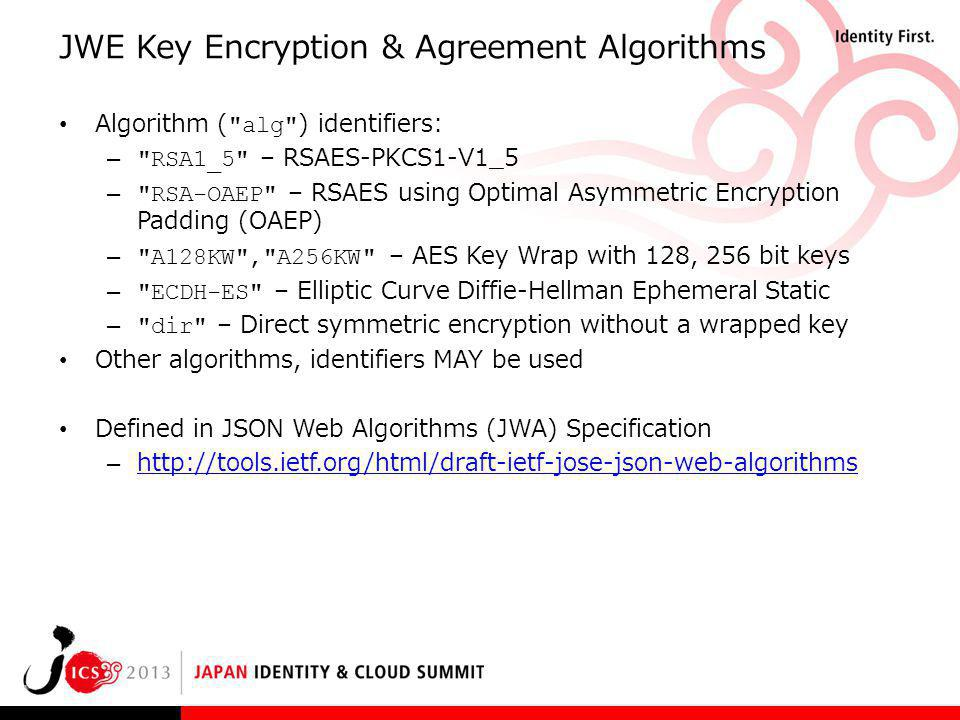 JWE Key Encryption & Agreement Algorithms
