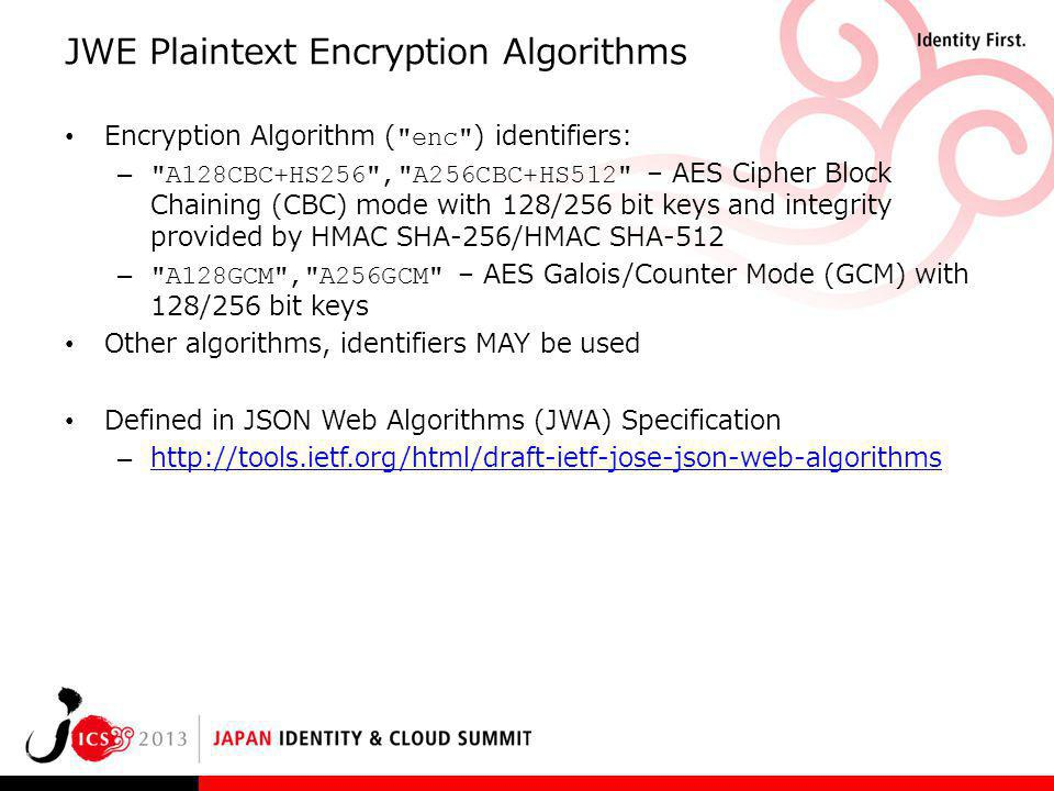 JWE Plaintext Encryption Algorithms