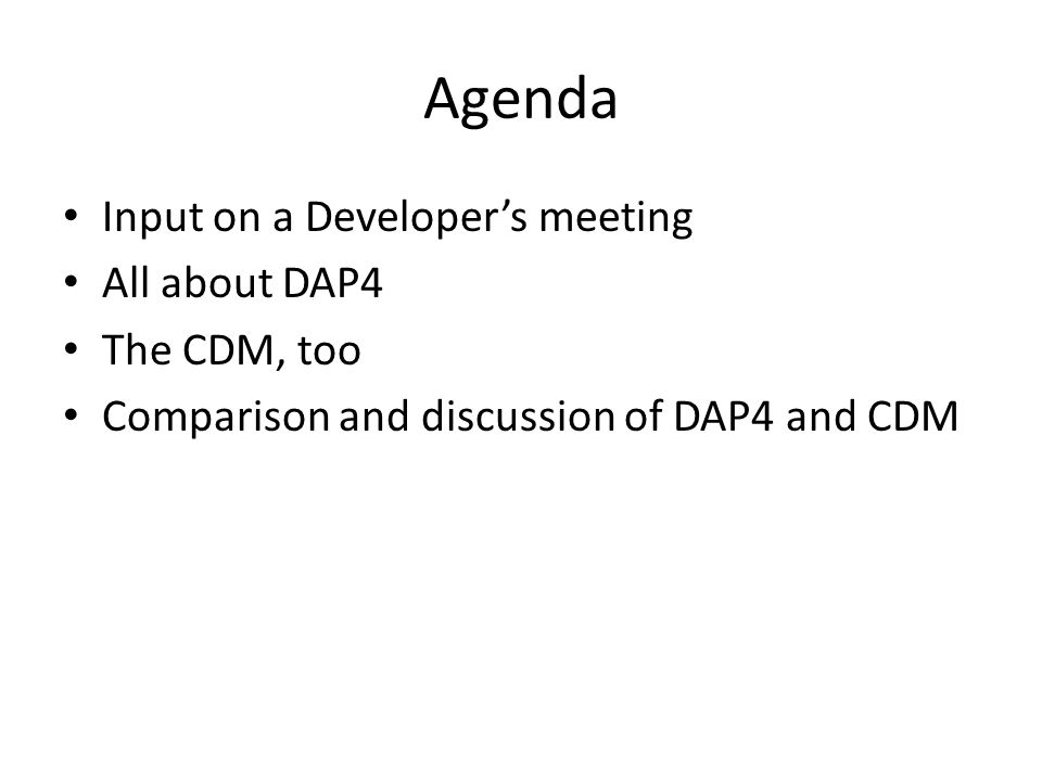 Agenda Input on a Developer's meeting All about DAP4 The CDM, too