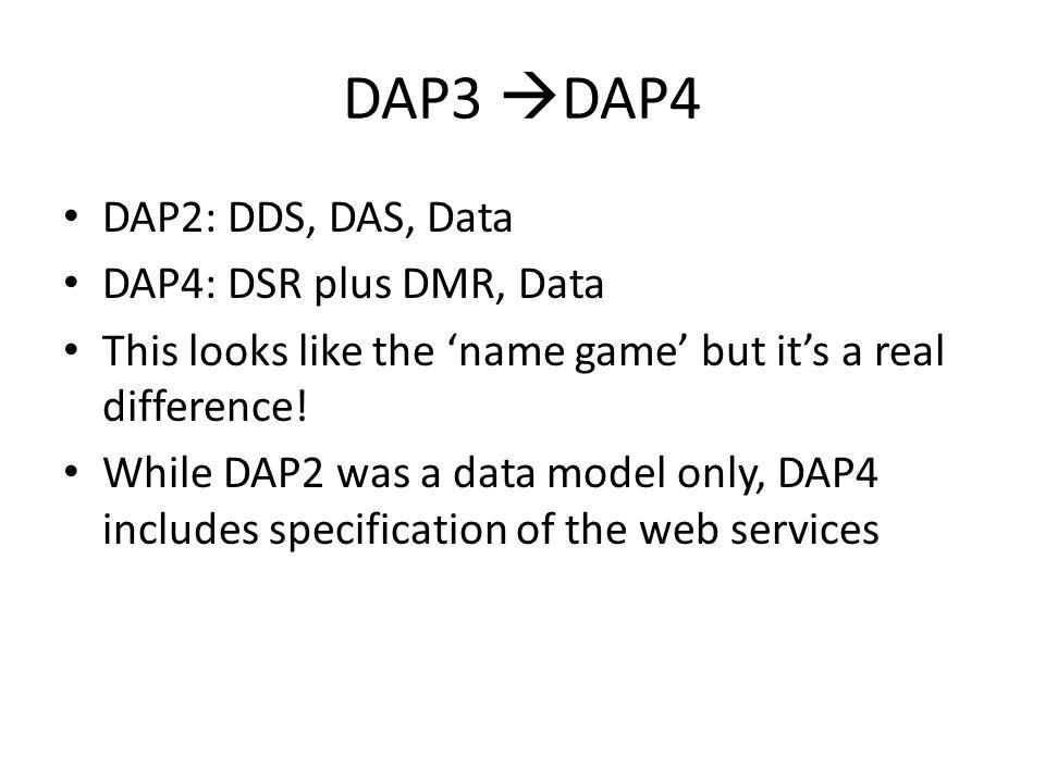 DAP3 DAP4 DAP2: DDS, DAS, Data DAP4: DSR plus DMR, Data