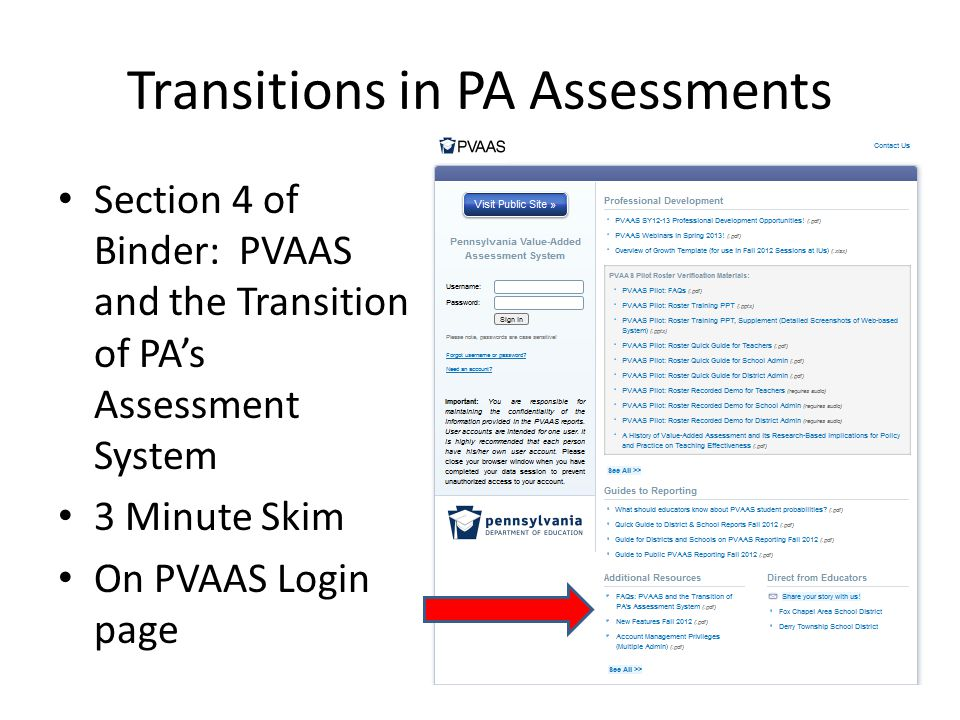 Transitions in PA Assessments