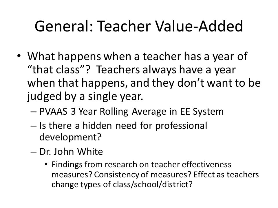 General: Teacher Value-Added