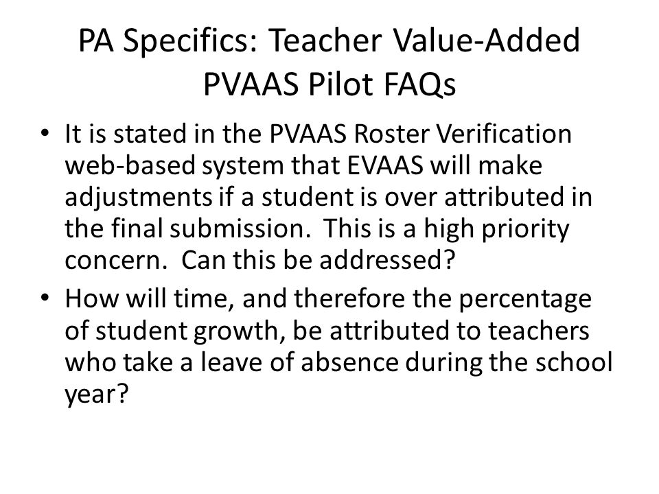 PA Specifics: Teacher Value-Added PVAAS Pilot FAQs