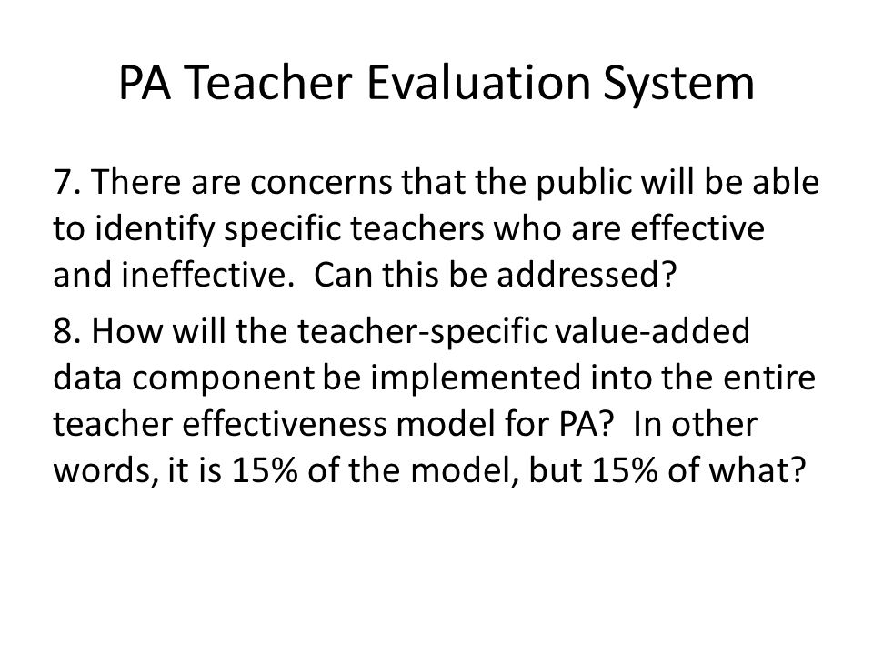 PA Teacher Evaluation System