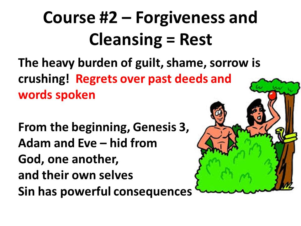 Course #2 – Forgiveness and Cleansing = Rest