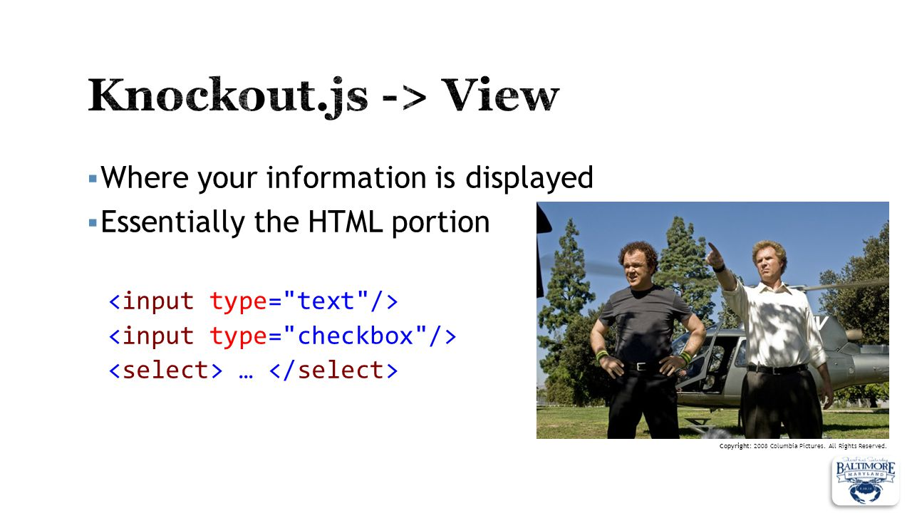 Knockout.js -> View Where your information is displayed