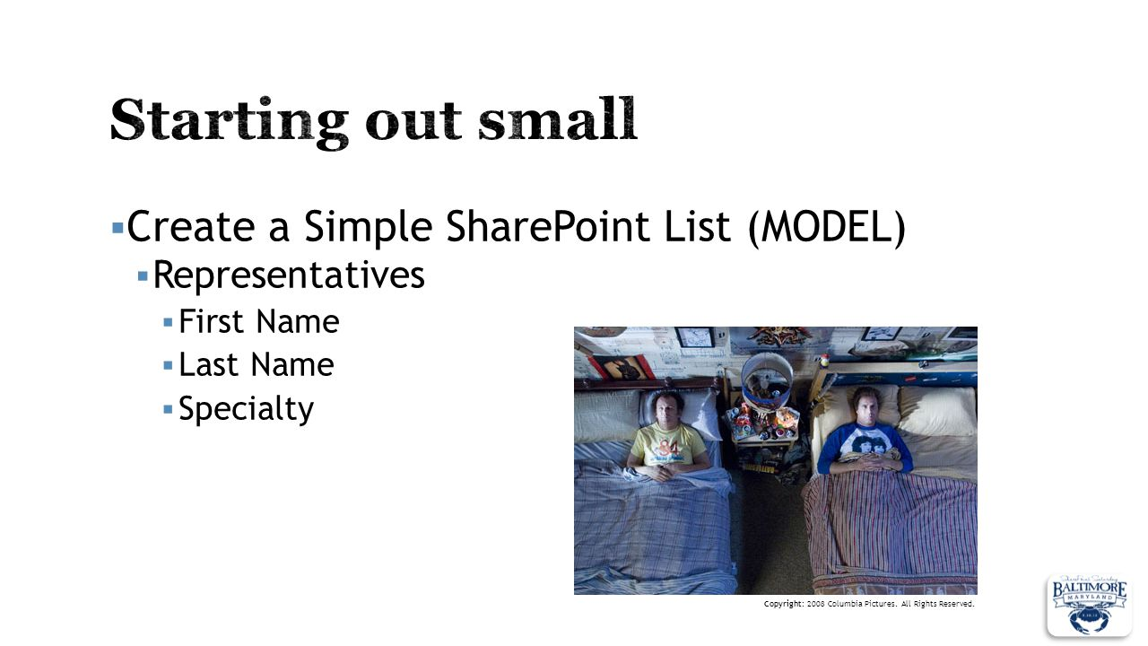 Starting out small Create a Simple SharePoint List (MODEL)