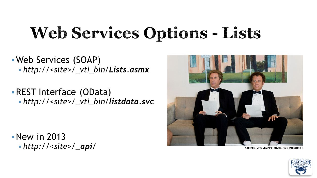 Web Services Options - Lists