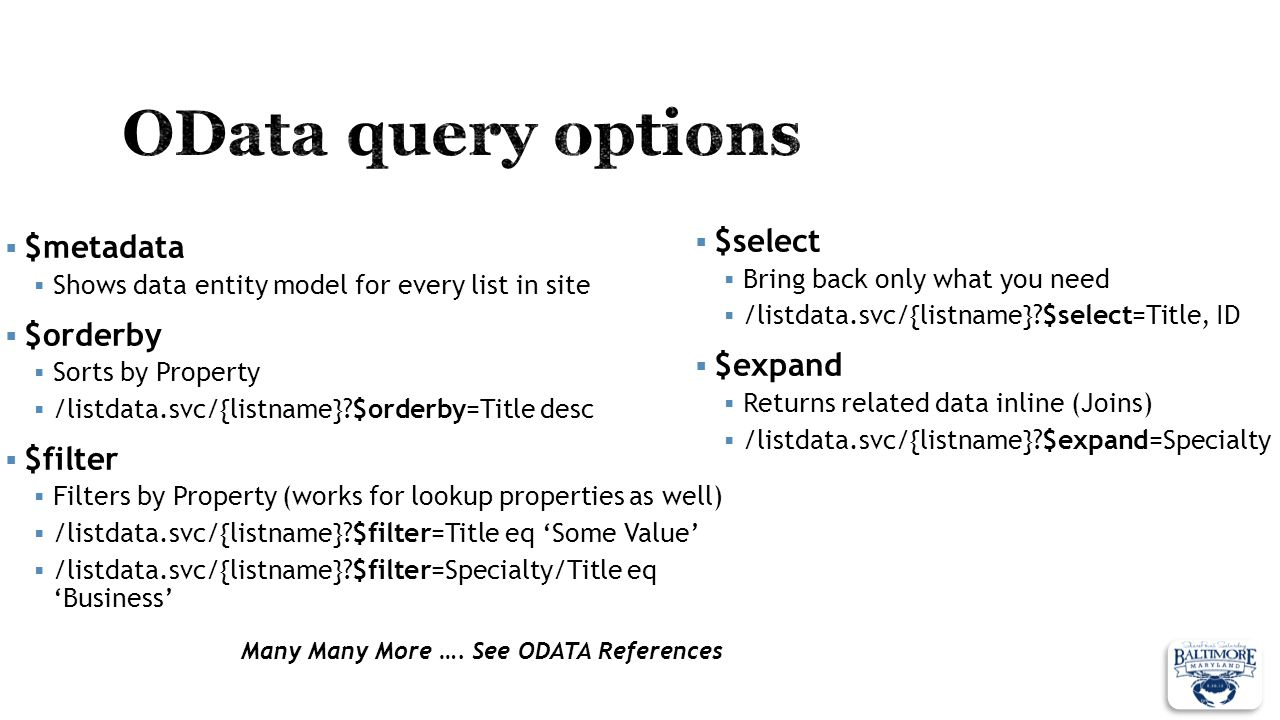 OData query options $select $metadata $orderby $expand $filter