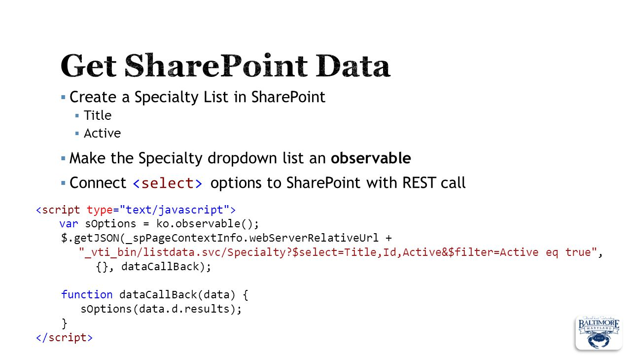 Get SharePoint Data Create a Specialty List in SharePoint