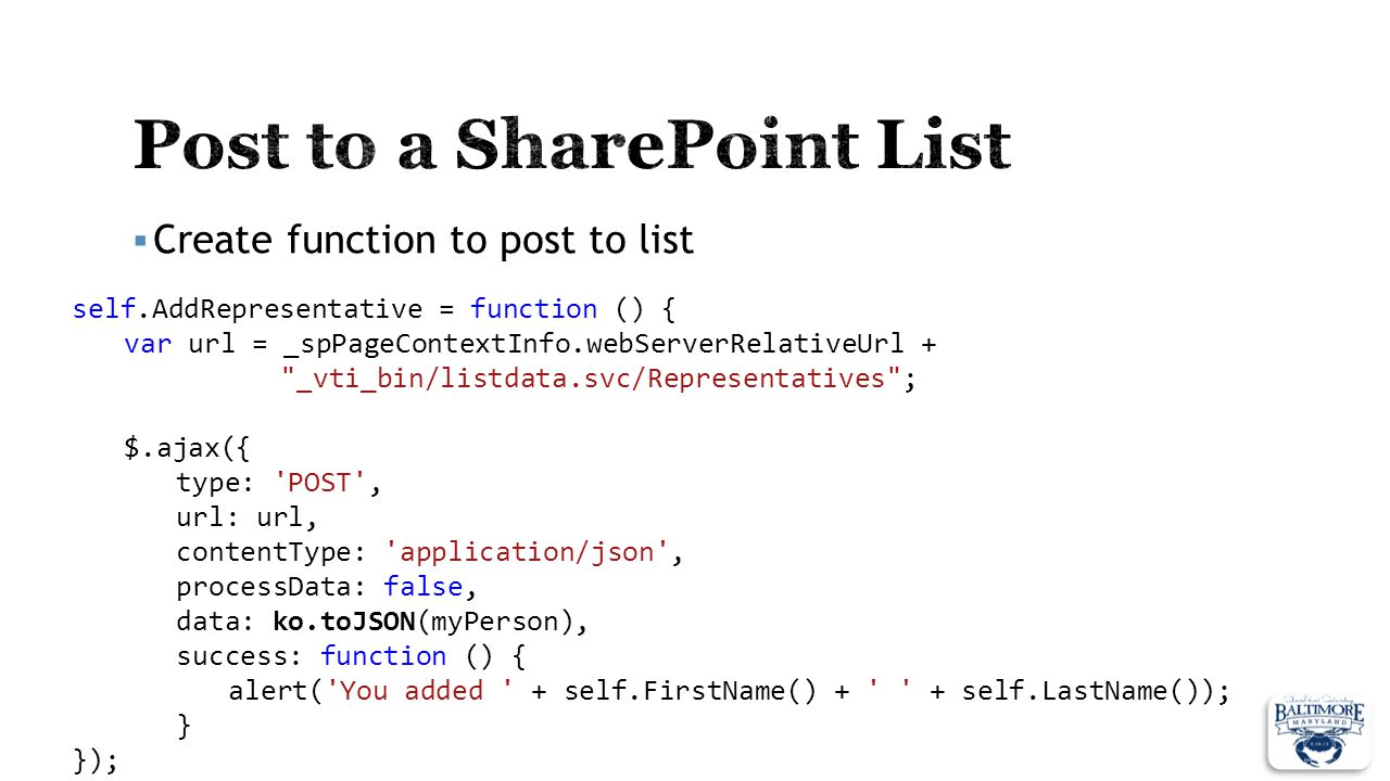Post to a SharePoint List