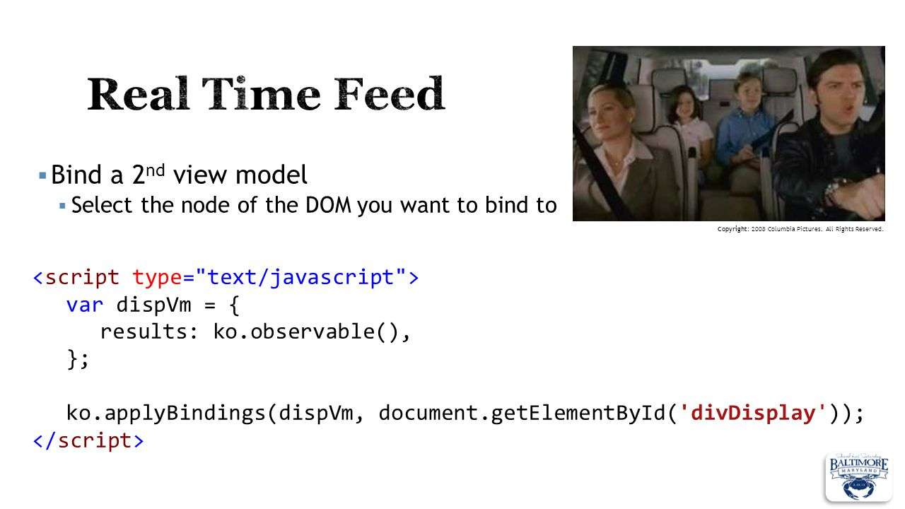 Real Time Feed Bind a 2nd view model