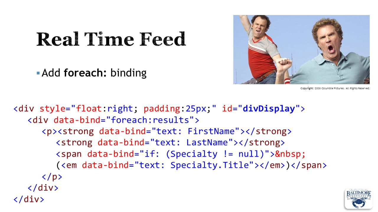 Real Time Feed Add foreach: binding