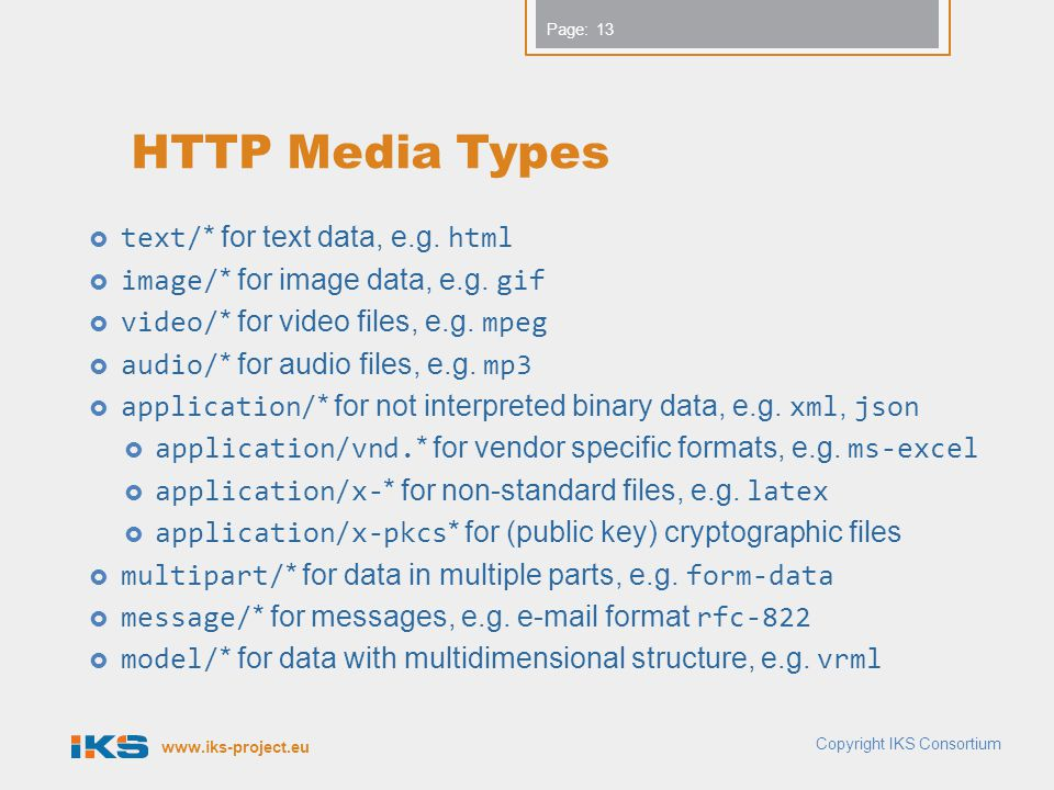 HTTP Media Types text/* for text data, e.g. html
