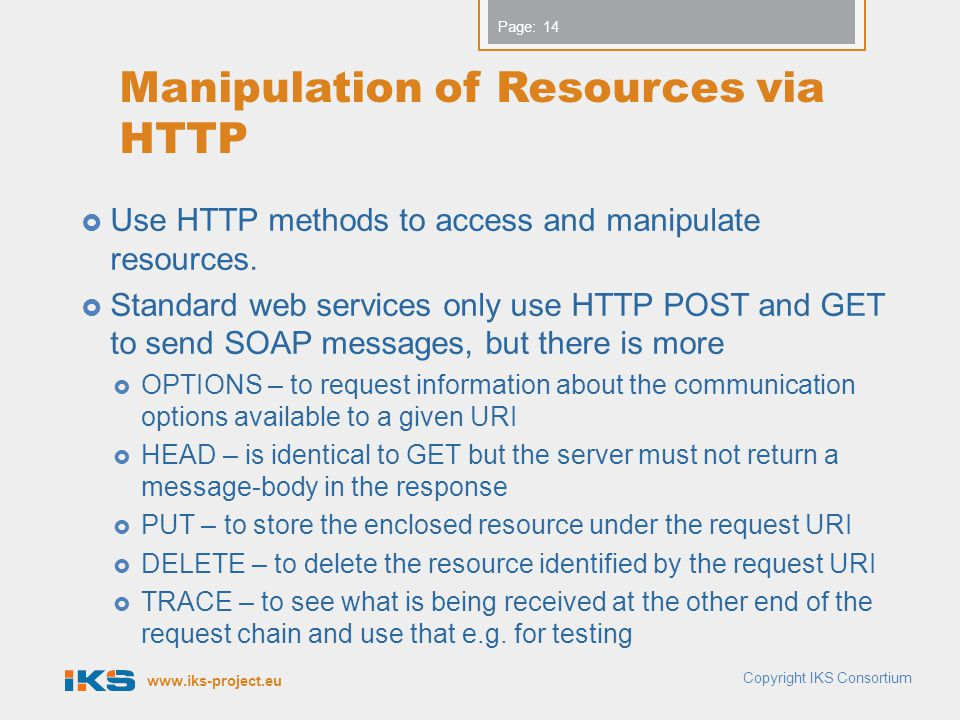 Manipulation of Resources via HTTP