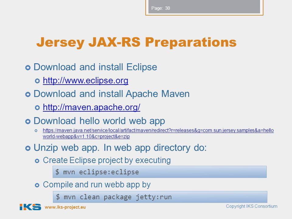 Jersey JAX-RS Preparations