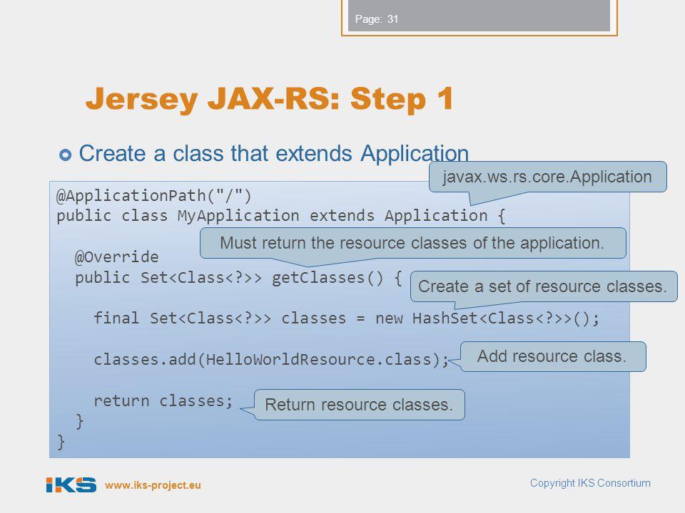 Jersey JAX-RS: Step 1 Create a class that extends Application