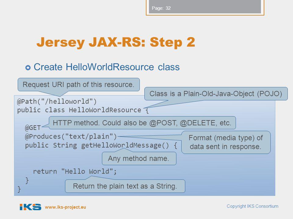 Jersey JAX-RS: Step 2 Create HelloWorldResource class