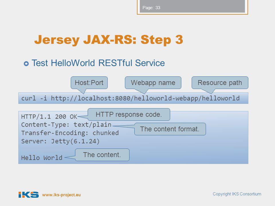 Jersey JAX-RS: Step 3 Test HelloWorld RESTful Service Host:Port