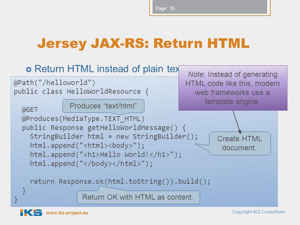 Jersey JAX-RS: Return HTML