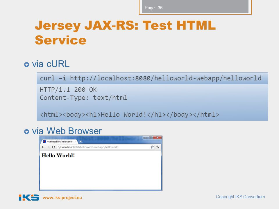 Jersey JAX-RS: Test HTML Service