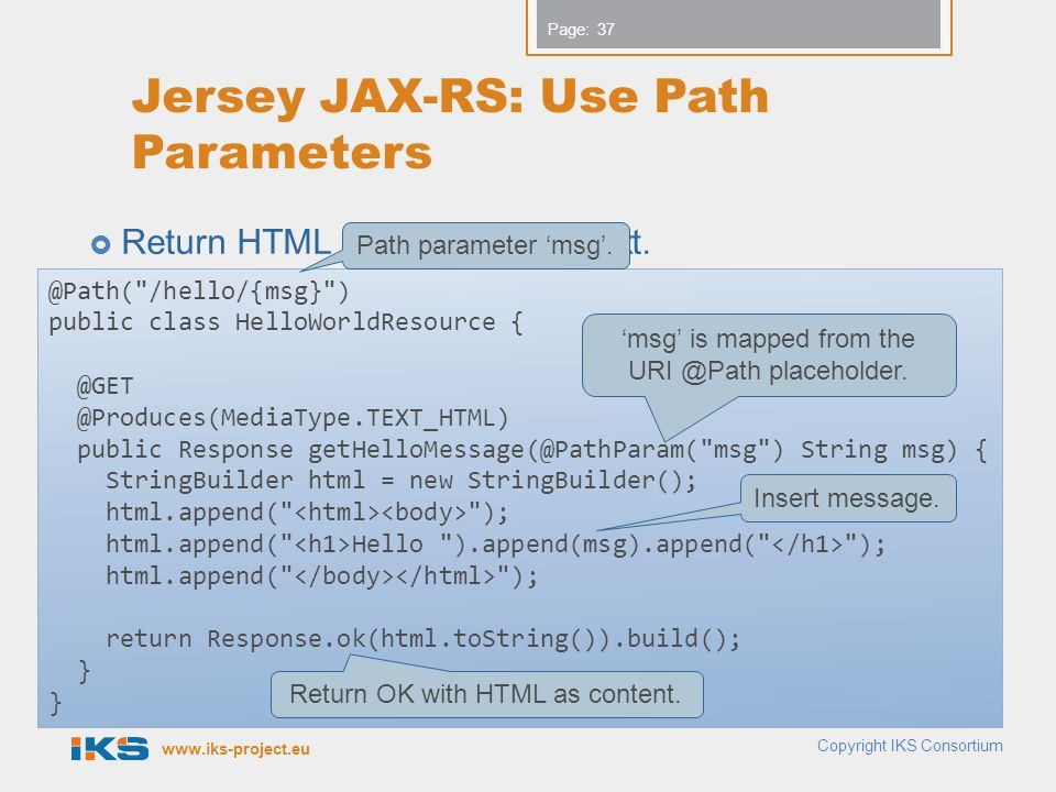 Jersey JAX-RS: Use Path Parameters