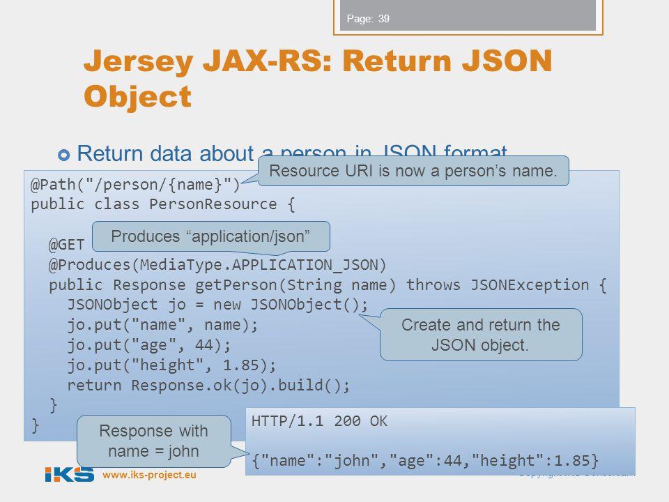 Jersey JAX-RS: Return JSON Object