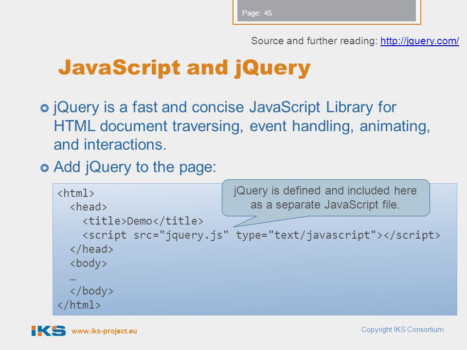 jQuery is defined and included here as a separate JavaScript file.