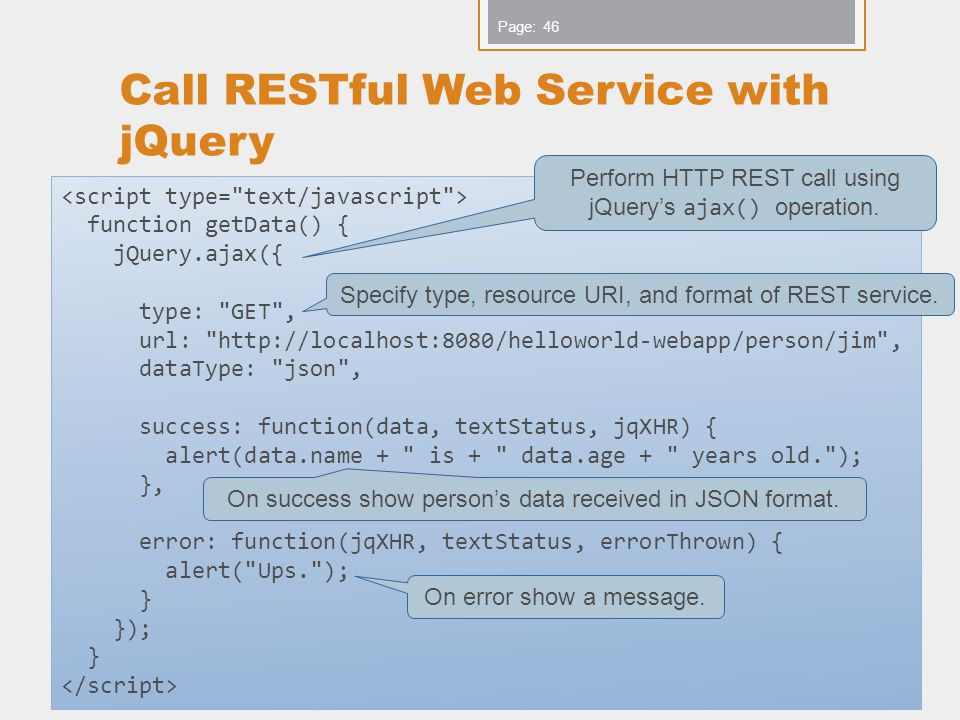 Call RESTful Web Service with jQuery