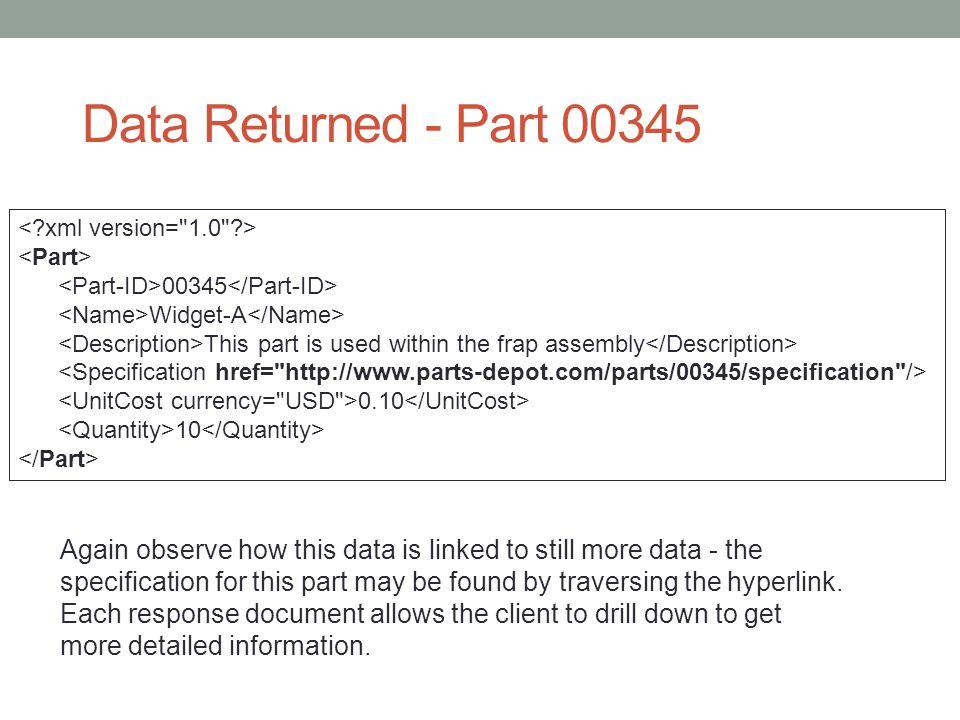 Data Returned - Part 00345 < xml version= 1.0 > <Part> <Part-ID>00345</Part-ID> <Name>Widget-A</Name>