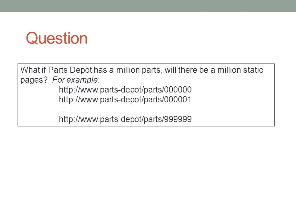 Question What if Parts Depot has a million parts, will there be a million static pages For example: