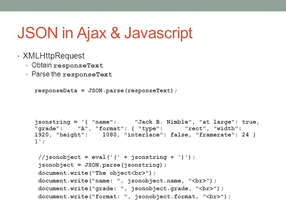 JSON in Ajax & Javascript