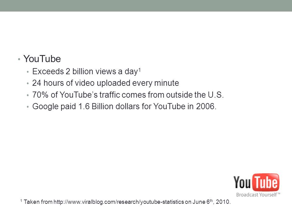 YouTube Exceeds 2 billion views a day1