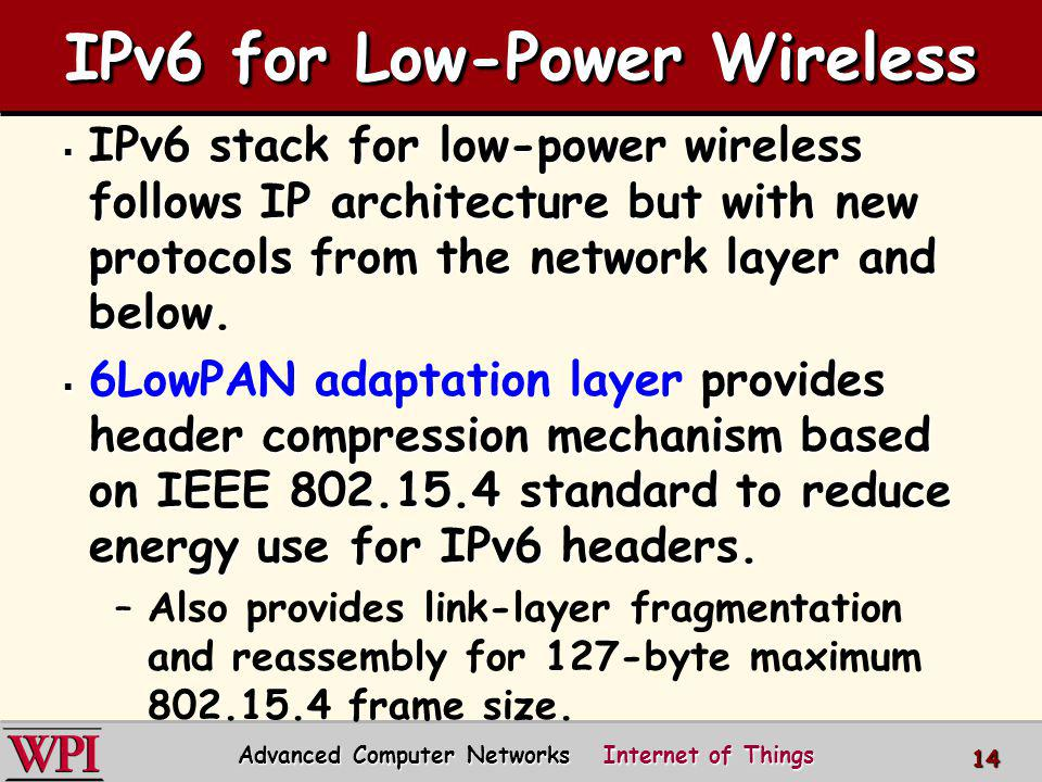 IPv6 for Low-Power Wireless