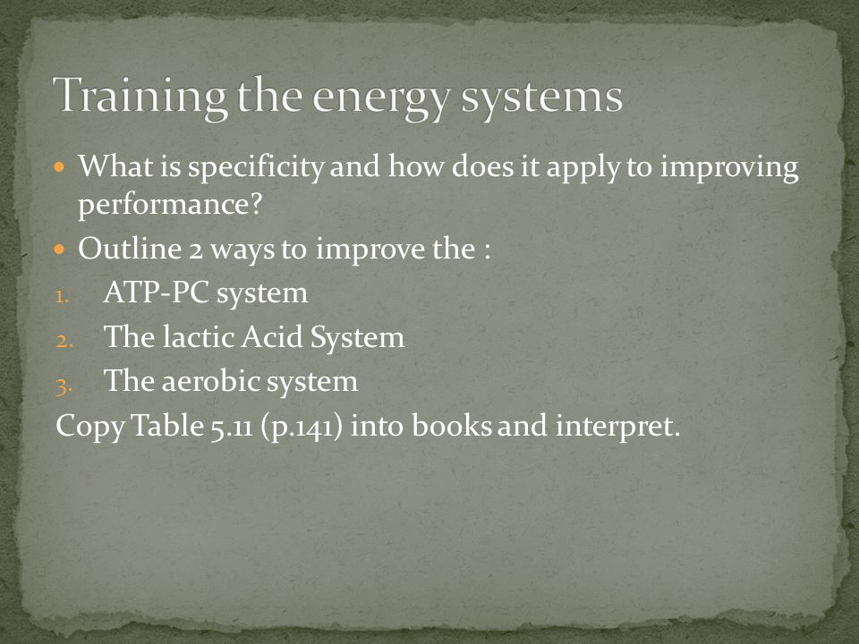 Training the energy systems