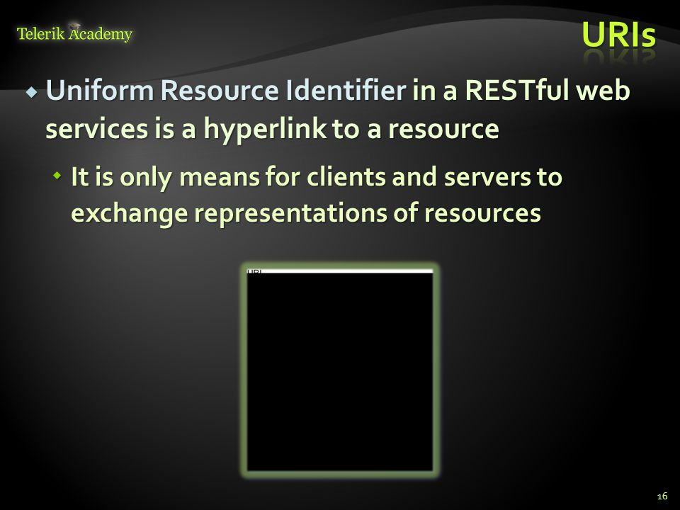 URIs Uniform Resource Identifier in a RESTful web services is a hyperlink to a resource.