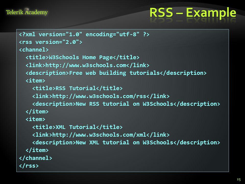 RSS – Example < xml version= 1.0 encoding= utf-8 >