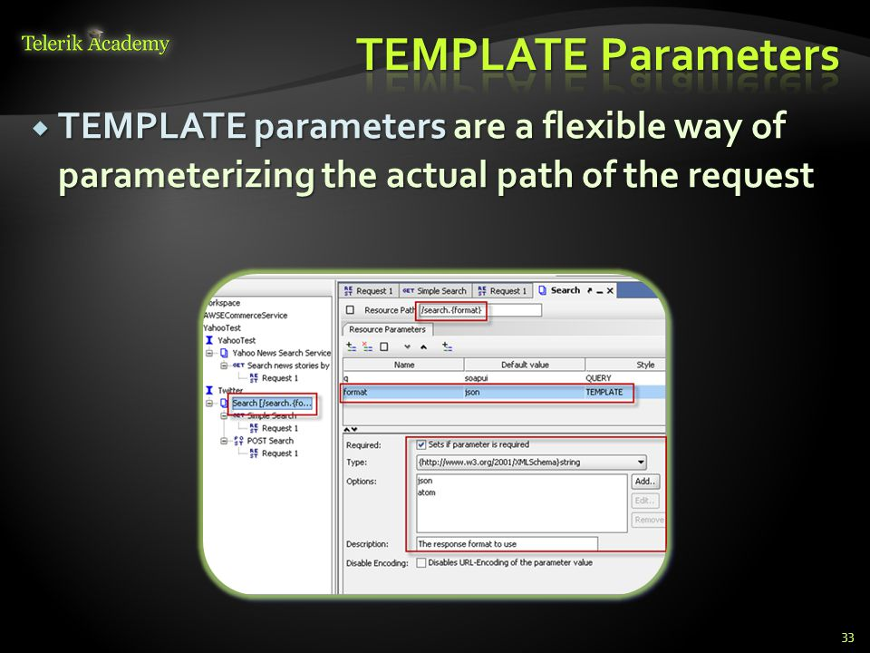 TEMPLATE Parameters TEMPLATE parameters are a flexible way of parameterizing the actual path of the request.