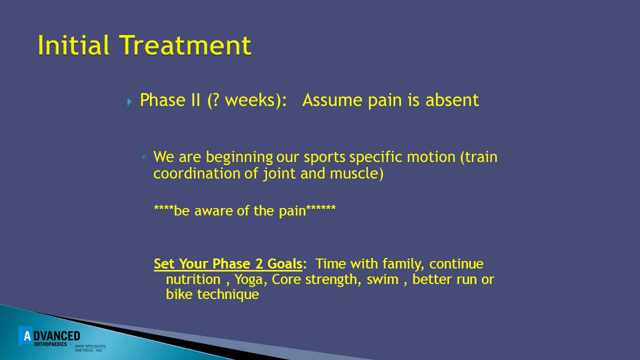 Initial Treatment Phase II ( weeks): Assume pain is absent
