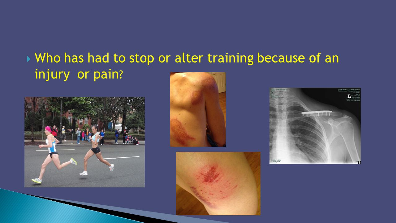 Who has had to stop or alter training because of an injury or pain