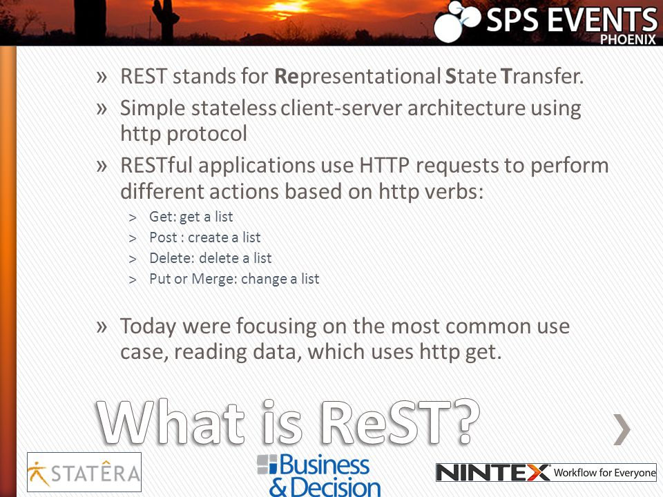 What is ReST REST stands for Representational State Transfer.