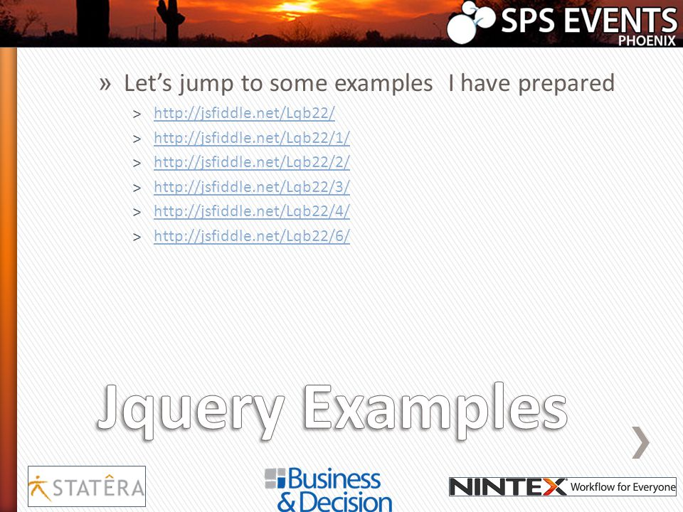 Jquery Examples Let's jump to some examples I have prepared