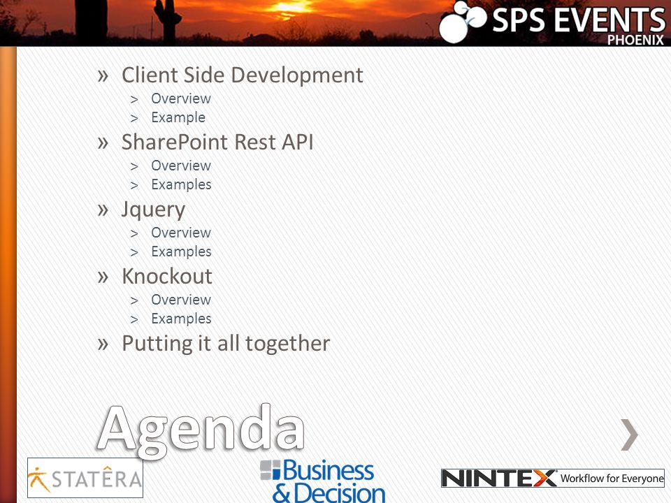 Agenda Client Side Development SharePoint Rest API Jquery Knockout