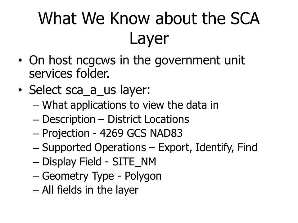 What We Know about the SCA Layer