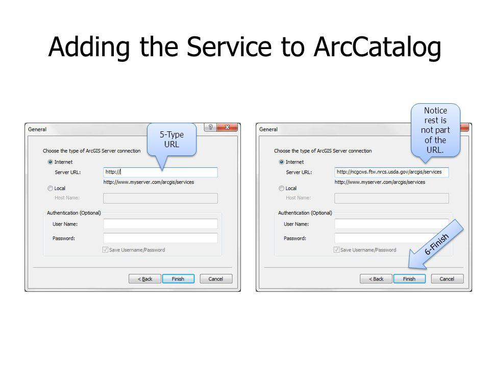 Adding the Service to ArcCatalog