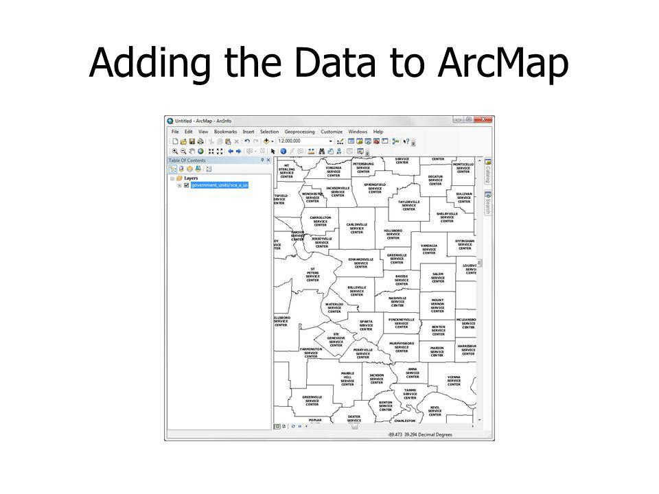 Adding the Data to ArcMap