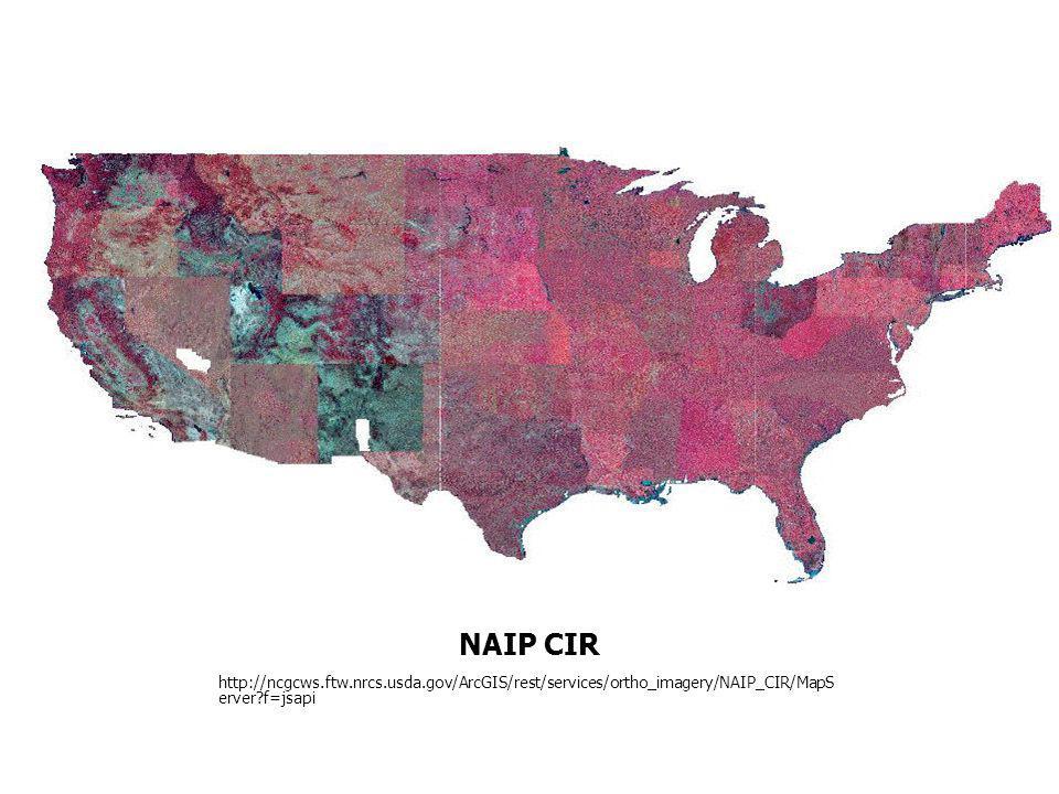 NAIP CIR http://ncgcws.ftw.nrcs.usda.gov/ArcGIS/rest/services/ortho_imagery/NAIP_CIR/MapServer f=jsapi.