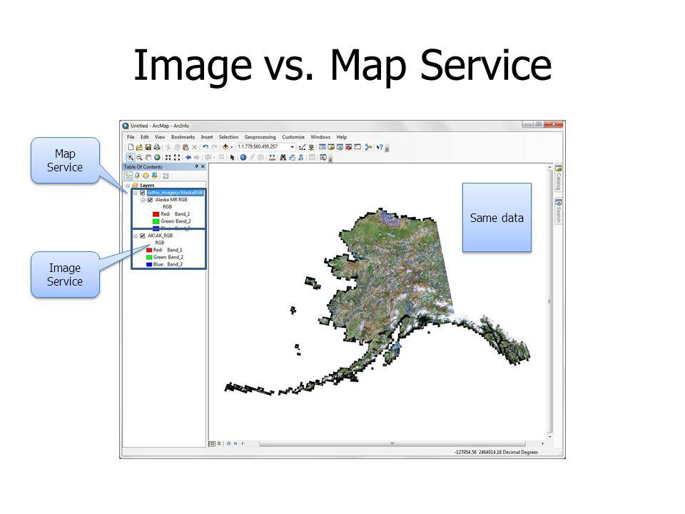Image vs. Map Service Map Service Same data Image Service