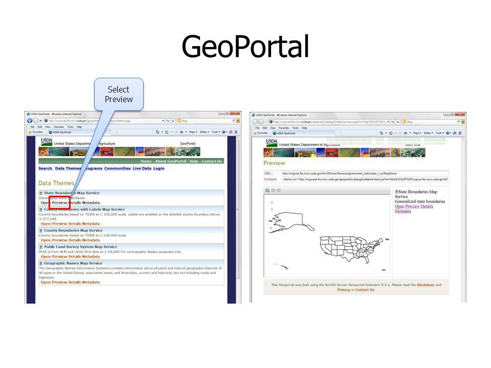 GeoPortal Select Preview